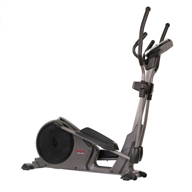 Sunny Health & Fitness Magnetic Elliptical Trainer Machine w/Device Holder, Programmable Monitor, and Heart Rate Monitoring